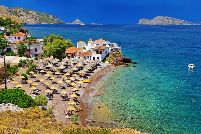 beach on Hydra island greece