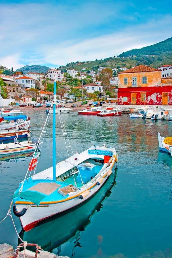 fishing boats in hydra island greece