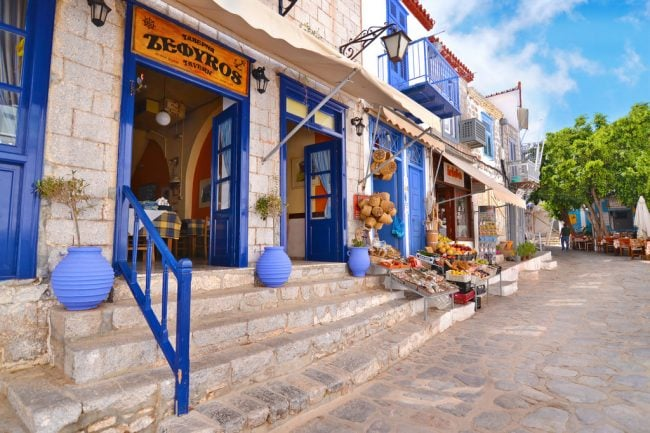 taverna on Hydra island Greece
